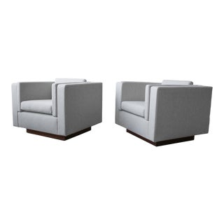 Mid Century Cube Plinth Base Lounge Chairs - a Pair For Sale