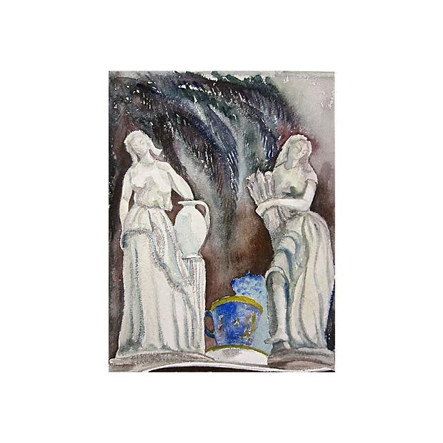 Italian Mid-Century Italian Maidens Watercolor Painting For Sale - Image 3 of 3