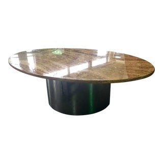 Modern Marble and Chrome Coffee Table For Sale