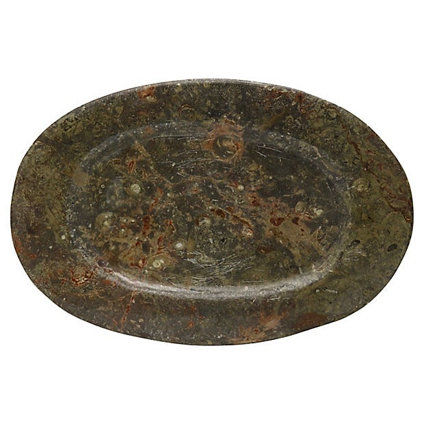 Contemporary Vintage Natural Stone Ammonite Fossils Platter For Sale - Image 3 of 3
