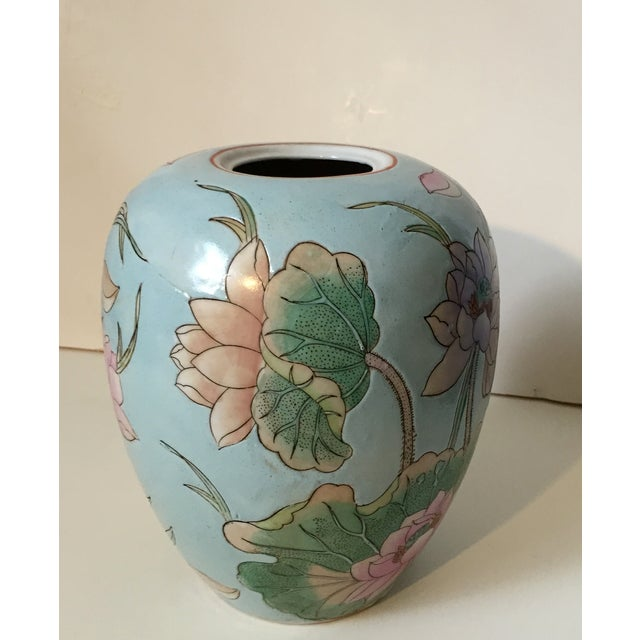 Waterlily Pattern Chinese Vase For Sale - Image 4 of 5