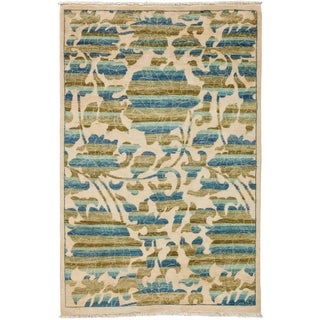 """Arts & Crafts Hand Knotted Area Rug - 4'1"""" X 6'3"""" For Sale"""