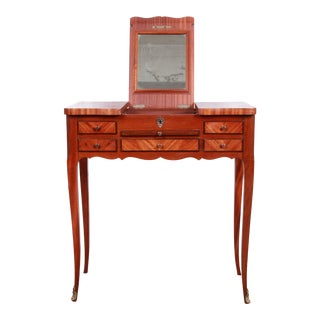 Antique French Louis XV Style Petite Mahogany Vanity With Inlaid Floral Marquetry For Sale