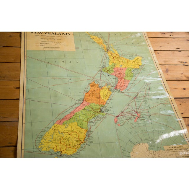 1960s Vintage New Zealand Pull Down Map - Image 2 of 8