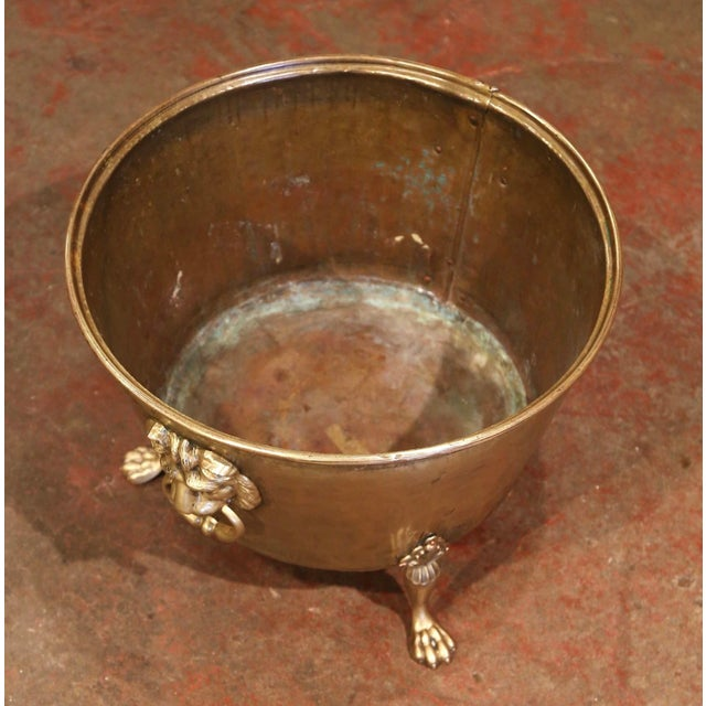 19th Century French Brass Cache-Pot Planter With Lion Head Handles For Sale In Dallas - Image 6 of 9