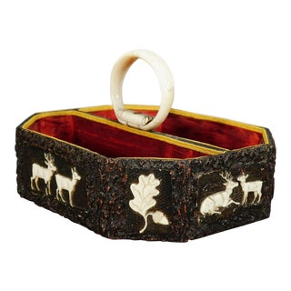 Antique Black Forest Basket With Carved Horn Plaques, Ca. 1860 For Sale