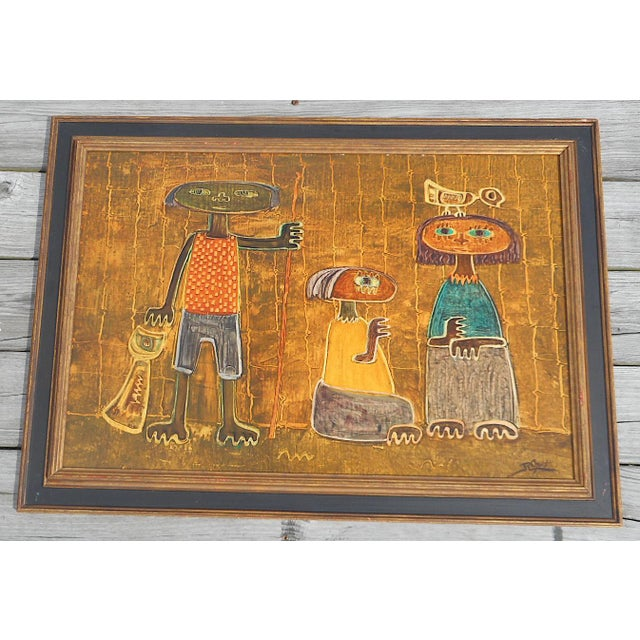 Oil Paint Original Vintage Post Modern Oil on Canvas-Signed-Raul Conti-Listed Latino Artist For Sale - Image 7 of 8