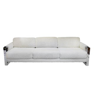 Craft and Associates Chrome and Walnut Midcentury Modern Sofa For Sale