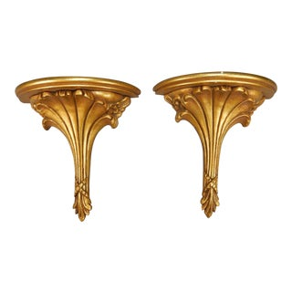 Set of (2) of Antique Intricate Gilt Wood and Gesso Shelves