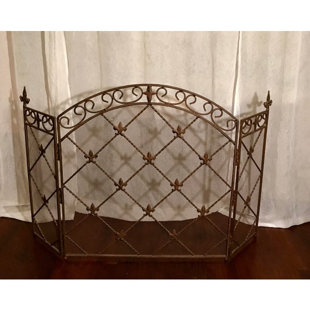 Antique French Wrought Iron Arched Fleur De Lis Folding Three Panel Fireplace Screen For Sale - Image 9 of 9