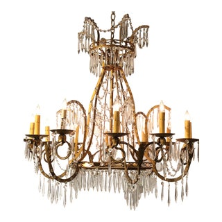 Decorative Maison Bagues 12-Light Gilt & Crystal Chandelier For Sale