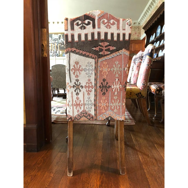 Boho Chic 20th Century Kilim Upholstered Dining Chairs - Set of 8 For Sale - Image 3 of 6