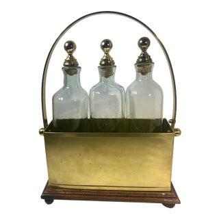 4 Piece Vintage Brass Wood Bottle Holder For Sale