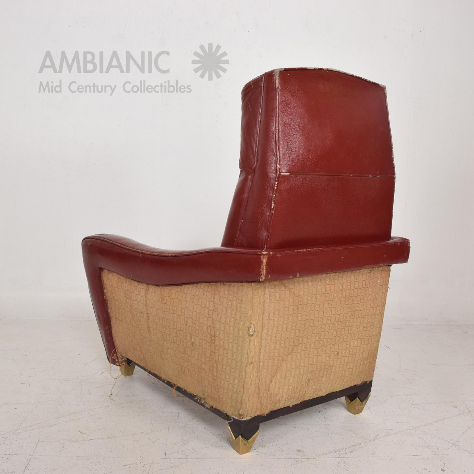 Mexican Modernist Tall Club Chair Ottoman Red Leather Brass Arturo Pani    Image 4 Of 11