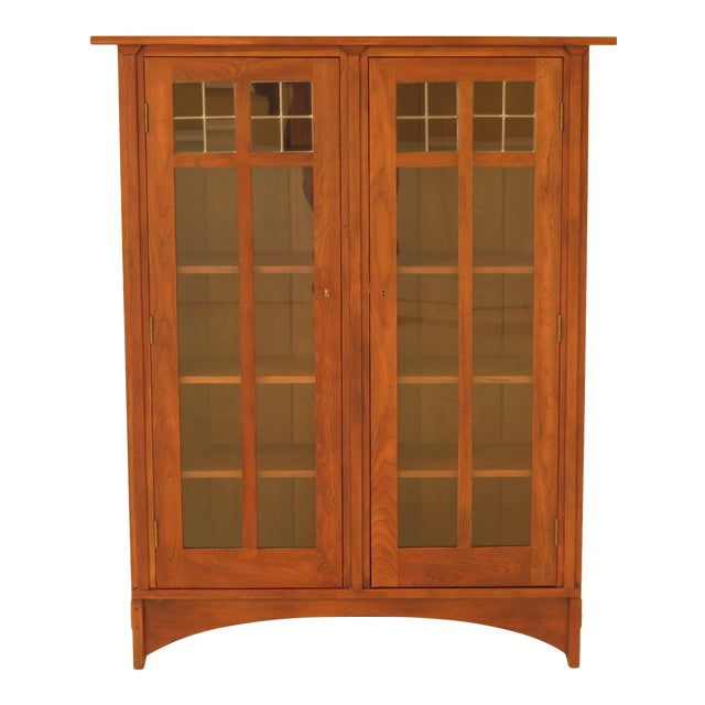 1980s Arts & Crafts Stickley Cherry Bookcase For Sale