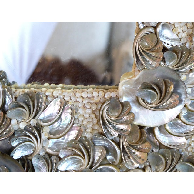 Palm Beach Chic Mother-Of-Pearl Shell Encrusted Mirror For Sale - Image 9 of 13