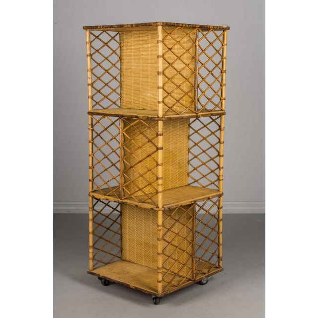 French Mid-Century French Riviera Bamboo & Rattan Bookcase For Sale - Image 3 of 11