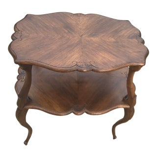 Early 20th Century French Provential Louis XV Two Tier Walnut Tea Table For Sale