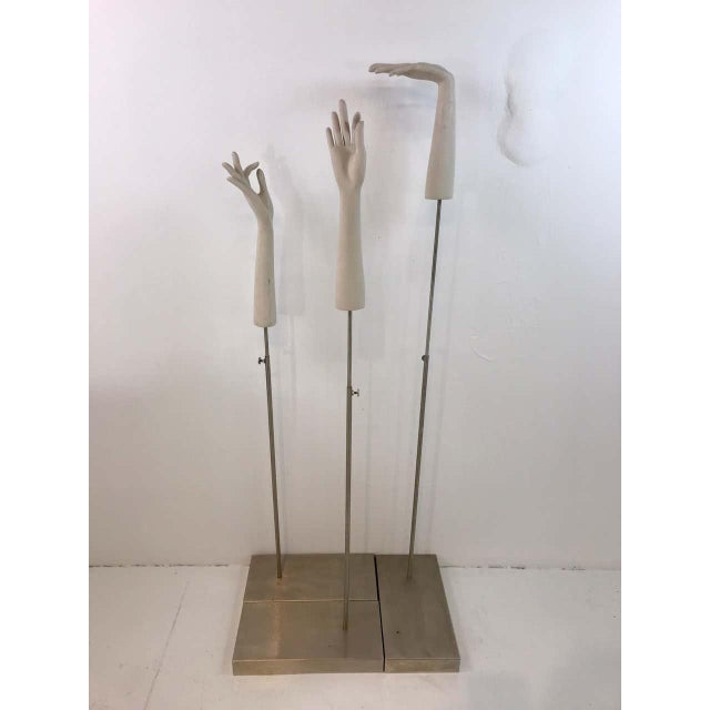 Modern Three Vintage Carved Wood Hand Displays on Chrome Bases, Set Only For Sale - Image 3 of 13