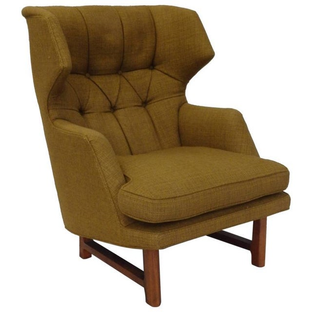 Textile Original Edward Wormley for Dunbar Modernist Wingback Lounge Chair For Sale - Image 7 of 7