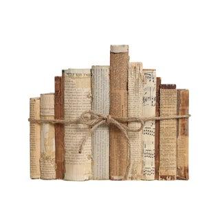 Newsprint & String Textured Decorative Book Set For Sale