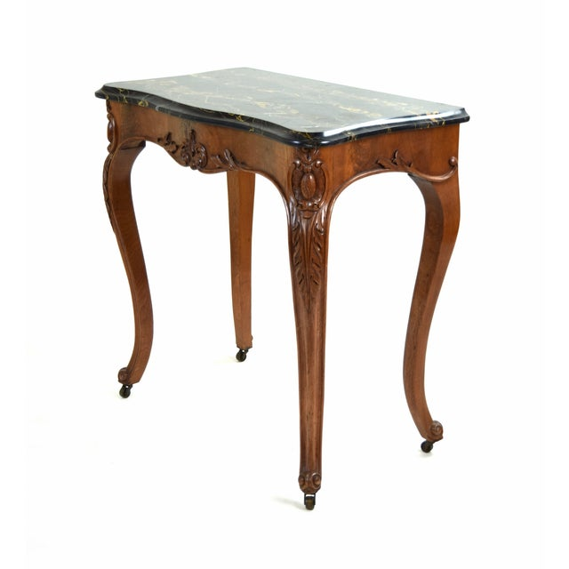 Antique French Louis XV Heavily Carved Marble Top Hall Console Table Cabriolet Legs For Sale In Chicago - Image 6 of 12