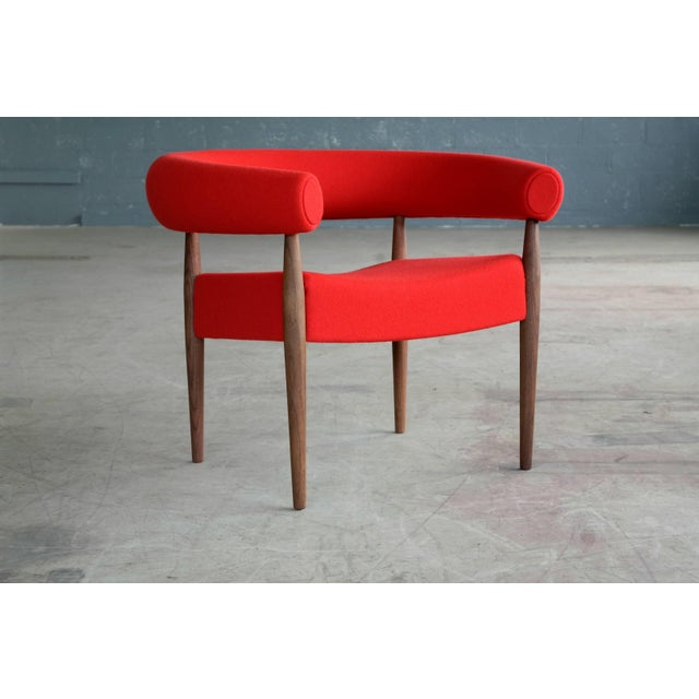 Red Pair of Nanna Ditzel Ring Chairs in Walnut and Wool for GETAMA For Sale - Image 8 of 10