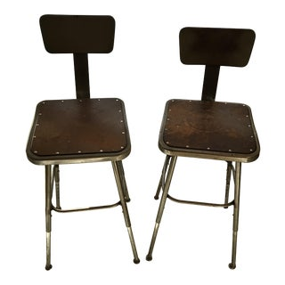 Industrial Factory Original Antique Drafting Stools Seats - a Pair