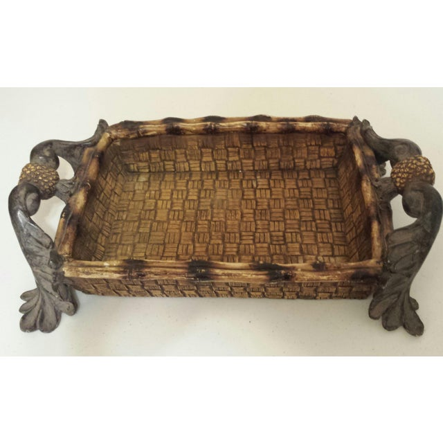 Mid-Century Modern Faux Rattan & Pineapple Basket/Tray - Image 2 of 10