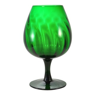 Italian Emerald Optic Blown Glass Bowl For Sale