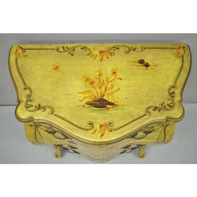 Asian Vintage Italian Hand Painted Yellow Chinoiserie Chest For Sale - Image 3 of 11