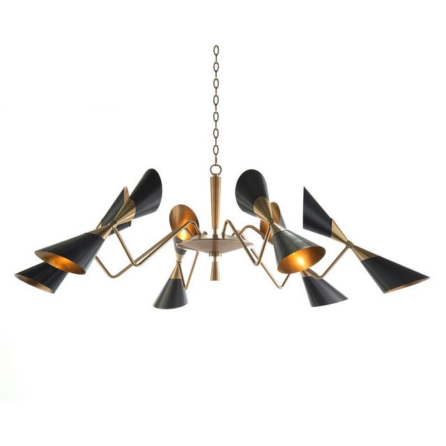 Modern Black Conical Shade Mid Century Chandelier For Sale In San Francisco - Image 6 of 6