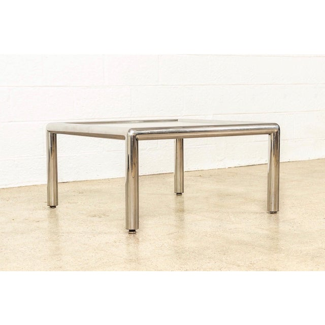 Vecta Group, Italy Mid Century John Mascheroni Tubo Glass and Chrome Coffee Table 1970s For Sale - Image 4 of 10