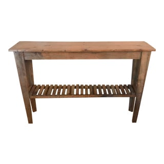 1980s Rustic Two Shelf Slat Console Table For Sale