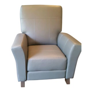 Dutailier Gray Leather Glider Recliner Chair