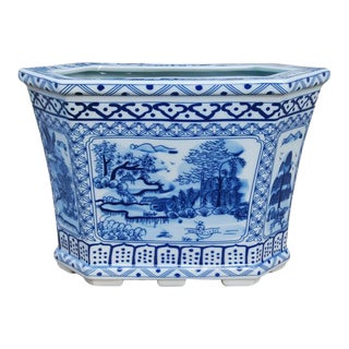 Blue & White Chinoiserie Cachepot For Sale