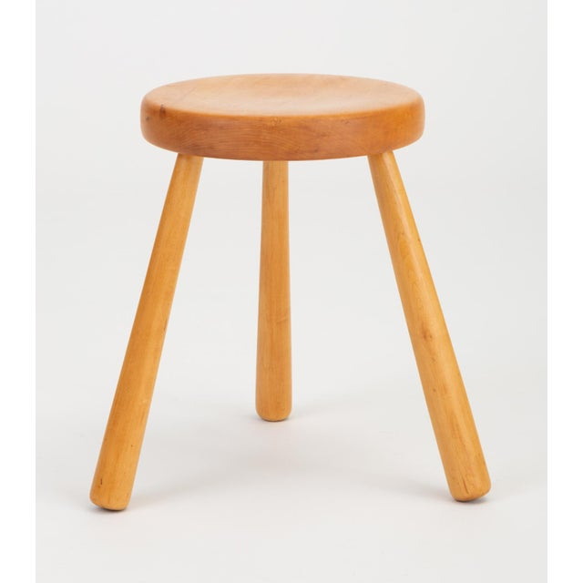 French Rustic Modern Three-Legged Stool in Pine Wood For Sale - Image 10 of 10