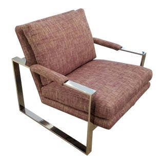 1970's Newly Covered Milo Baughman Chrome Arm Chair