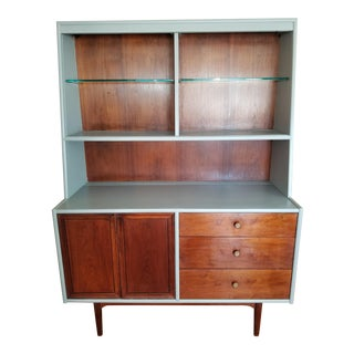 1960s Mid-Century Modern Walnut Drexel Declaration Collection Hutch For Sale
