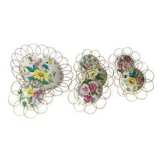 Vintage Wire Framed Hand Painted Flower Display Plates - Set of 7 For Sale