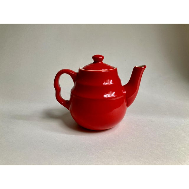 Bright Red Universal Potteries Ceramic Teapot. Tea for One or Two. Made in Cambridge, Ohio. Tea time. 2 pieces. Holds 12+...