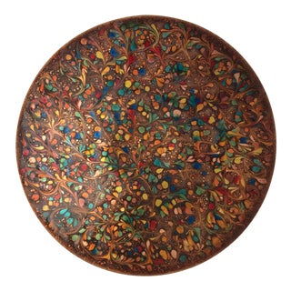 Midcentury Large Copper Enamel Tray For Sale