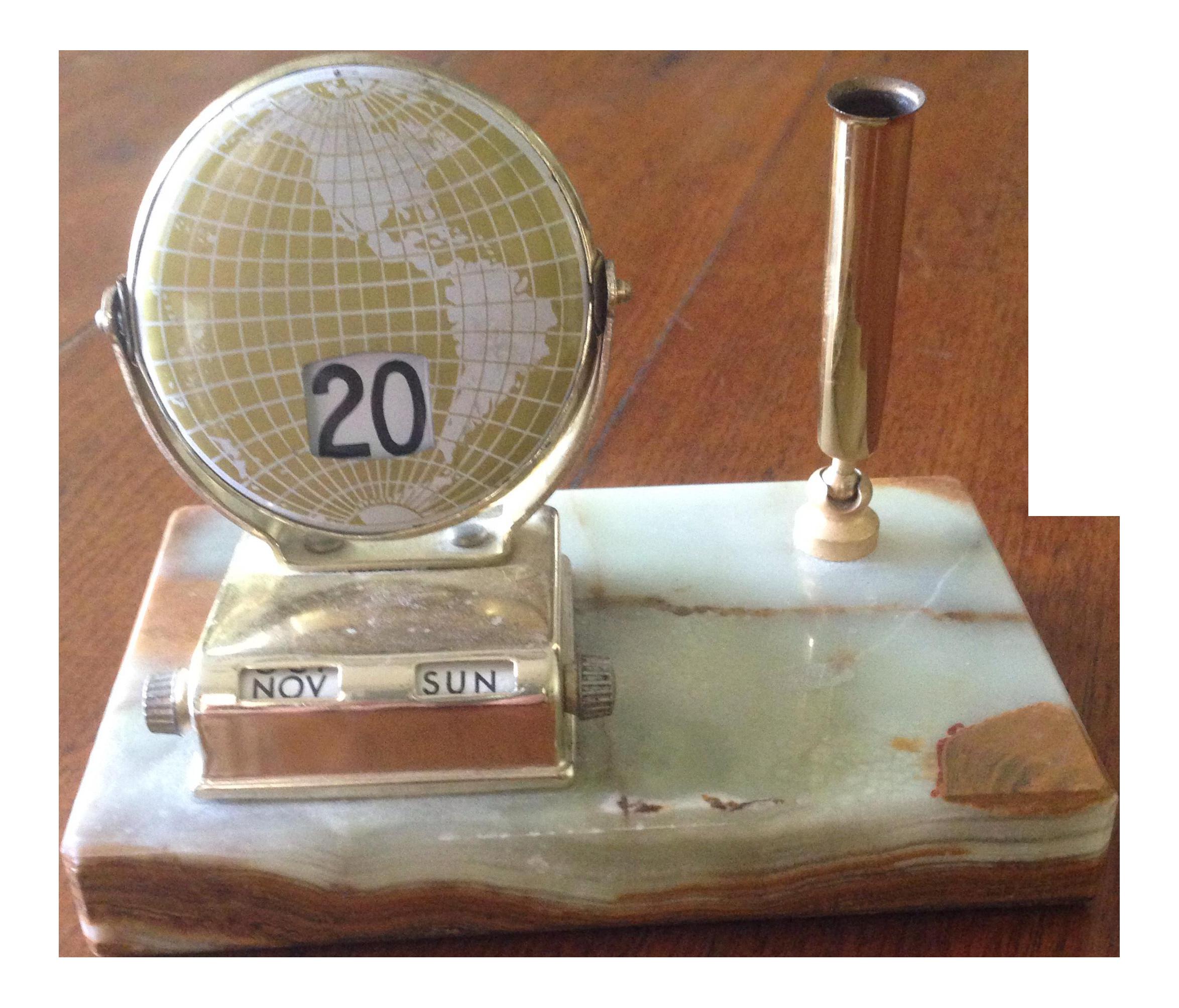 Vintage Marble Brass Perpetual Desk Calendar Chairish