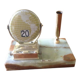Vintage Marble/Brass Perpetual Desk Calendar For Sale