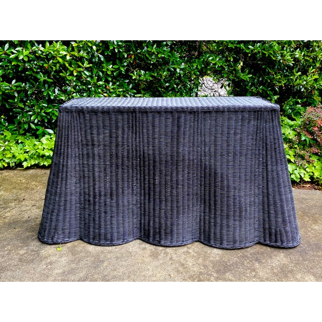 Natural Rattan Trompe l'Oeil Console Tables in Black For Sale - Image 13 of 13