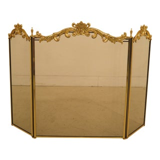 French Louis XV Style Brass Folding Firescreen For Sale
