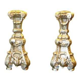 18th C. Italian Silver Gilt Altar Pricket Table Lamps - A Pair