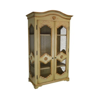 Woodland Furniture French Country Style Large Hand Painted Armoire For Sale