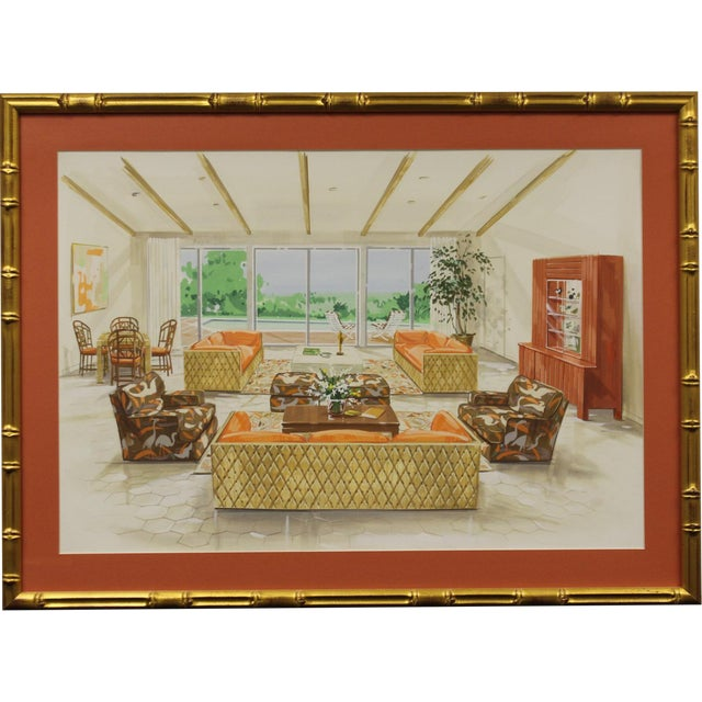 Tropical-Inspired Retro Living Room Painting For Sale