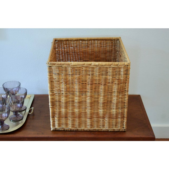Modernist Wicker Cube Planter / Side Table For Sale - Image 4 of 13